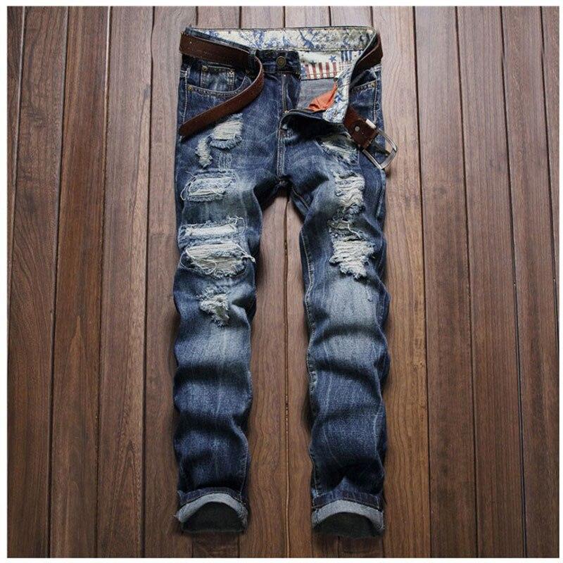 Mens Designer Casual Hole Ripped Jeans Famous Vintage Mens Fashion Denim Pants Slim Straight Trousers Biker Washed Jeans 38Одежда и ак�е��уары<br><br><br>Aliexpress