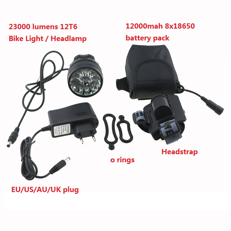 22000 lumens Bike Light Headlight 12x Cree XM-L T6 Led Bicycle Cycling Head Lamp+ 18650 12000mah Battery Pack + Charger<br><br>Aliexpress