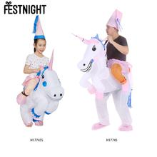Cute Inflatable Unicorn Costume Suit Adult Size Child Size Optional Festival Party Pegasus Outfit Jumpsuit Horse Animal Costume