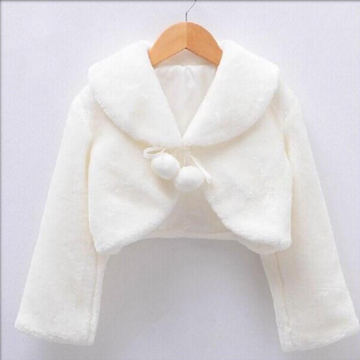 Wholesale Girl Outwear 2T-10T Kids Jackets Winter Top Ivory Faux Fur Long Sleeves Kids Coats White Flower Girl Jacket Pink 3818<br>