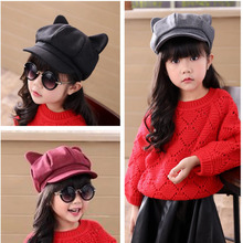 New year Children 's hat girls fall and winter cat ears demon cap bristle boys and girls baseball cap used with sweaters 2mz32