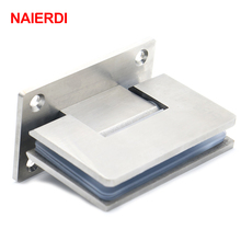 2PCS NAIERDI-4913 90 Degree Open 304 Stainless Steel Wall Mount Glass Shower Door Hinge For Home Bathroom Furniture Hardware(China)
