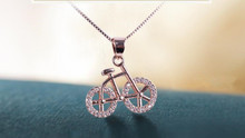 2016 fashion Crystal pendant Necklace rose gold Bicycle Pendant Necklace for Women