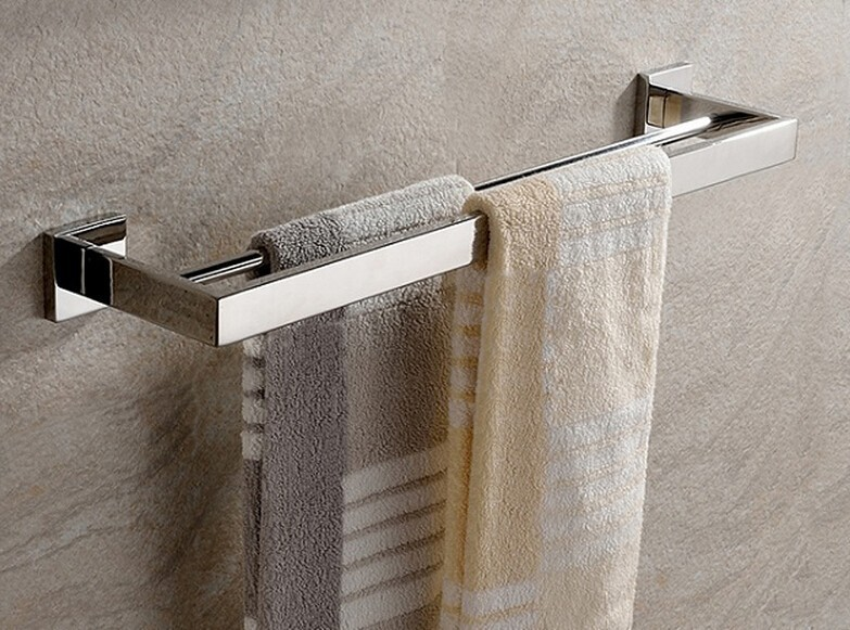 Free Shipping SUS 304 stainless steel double towel bar square towel rack in the bathroom wall mounted towel holder SM008-1<br>