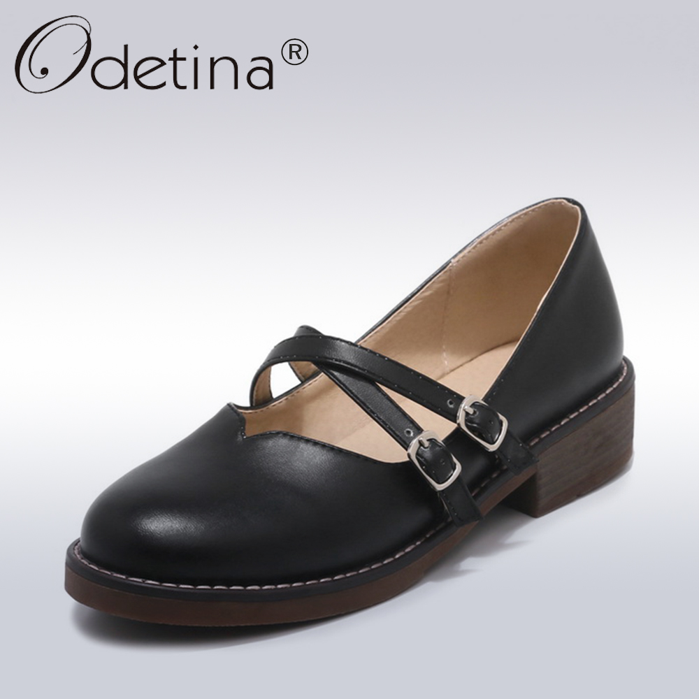 Odetina 2018 New Fashion Woman Sweet Mary Janes Shoes Comfortable Round Toe Low Heels Buckle Strap Casual Shoes Big Size 32-43<br>