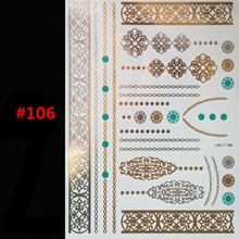 Latest design shimmering body art tattoo flash gold jewelry large temporary Arab tattoost sticker sleeve in India