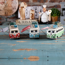 Antique finished artifiacal creative iron cast bus model travel car with luggage toy gifts desktop home decoration