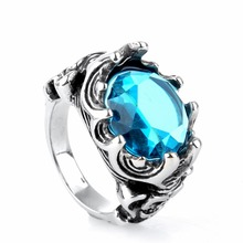Stainless steel jewelry Gentleman personality retro titanium steel skeleton with Blue stone ring(China)