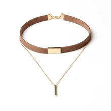 RscvonM Long necklace Allergy Hot Sale Y Style Chain Long Necklaces & Pendants Gold color Strip Bar Jewelry For Women  C162 C161
