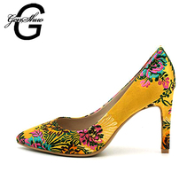 Formal Wedding Dress Shoes Women High Heels Shoes Pink Yellow Printed Pumps Prom Cocktail Floral Black Dress Shoes Size 5-11(China)