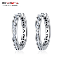 Buy LZESHINE New Hoop Earrings Pure 925 Sterling Silver CZ Stone Paved Trendy Earrings Wholesale Jewelry Bijoux Brincos PSER0038-B for $6.92 in AliExpress store