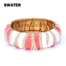 SWATER Fashion Colorful Enamel Bangle Ethnic Style Vintage India Gold color Jewelry Crystal Bracelets Bangles Women Party Gift(China)