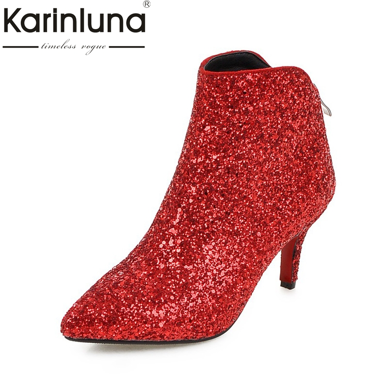 KARINLUNA Large Size 34-43 Bling Upper Thin High Heels Woman Shoes Sexy Sliver Black Red Party Ankle Boots Pointed Toe<br>