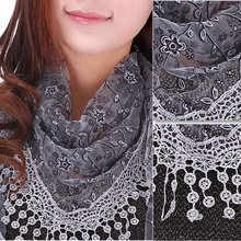 Women Adult Lace Hollow Out Sheer Floral Print Triangle Veil Scarf Shawl Wrap Tassel Lightweight Soft Voile Style 2017 Fashion(China)