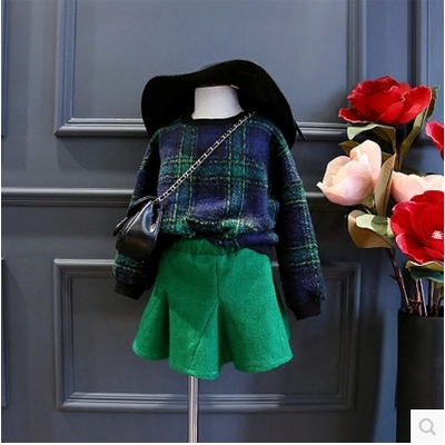 new england style baby clothes woolen girls clothing set plaid hoodies+skirts children clothing 2pcs girls party costume infatil<br><br>Aliexpress