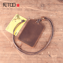 AETOO Handmade leather CARD wallet original cowhide card sets retro simple lanyard bus card bank card access card sets