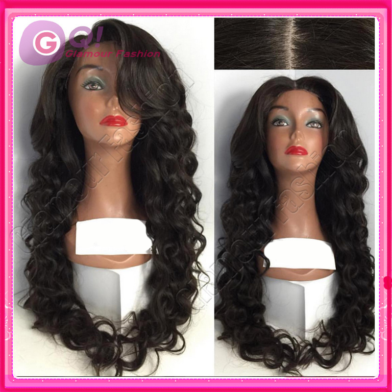 GQ 100% unprocessed best human hair wigs glueless lace front wigs deep wave wig with bangs for black women peruca cabelo humano<br><br>Aliexpress
