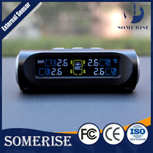 Solar Energy Car TPMS Tire Pressure Monitoring System Wireless LCD Display 4 External Sensors Real-time Tyre Security Alarm FORD