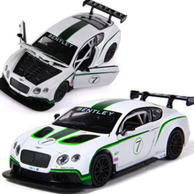 2016 New Alloy Car Models Creative 1:32 Simulation Model Car Sound And Light Back Toys Bentley GT3 Racing Child Toy Gift X188
