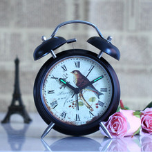 Hot sale wall digital design Home fashion quartz watch gift bedroom artistic electronic clock metal top bird retro vintage XM
