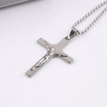 Stereo carving Jesus cross pendant necklaces bead chain men 316L Stainless Steel necklace wholesale jewelry