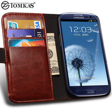 TOMKAS S3 Wallet Case For Samsung Galaxy S3 Case Luxury i9300 PU Leather Phone with Card Holder Case For Samsung S3 Cover Coque