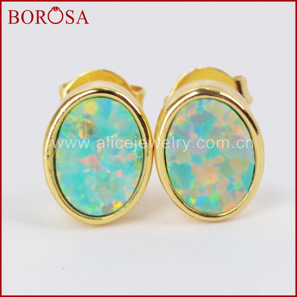 BOROSA Gold Color Bezel Oval White Opal Druzy Stud Earrings for Girls,New Collection Drusy Japanese Opal Earrings ZG0212