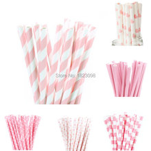 25pcs/lot Light Pink Paper Straws for Kids Birthday Wedding Decorative Party Straws Event BabyShower Supplies