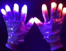LED Flashing Sequins Gloves Party Dance Finger Lighting Glow Mittens Gloves bar Halloween Christmas performance stage props new(China)