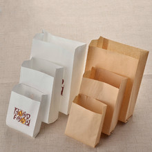 Greaseproof Disposable Kraft Paper Bag Food Grade Package Containers Snack Take-Out Food Paper Bags 100 pcs/lot