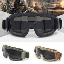 Dos homens Militares Balísticos 3 Lente Óculos de Proteção Táticos, EUA  Exército Tático Óculos Anti nevoeiro Óculos de proteção do Capacete Airsoft  Óculos ... 77fc345a40