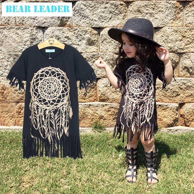 Girls Dress 2016 new spring summer style childrens clothing personality style casual baby black wild fringed dress 1-5Y<br><br>Aliexpress