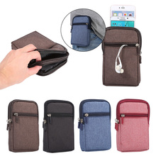 Funda For HTC One M9 Multi-function Universal Denim Leather Belt Clip Pouch Waist Purse Case Cover with 2 Pockets W2A05D