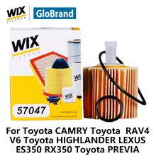 WiX car oil Filter 57047 for Toyota CAMRY 2.5L Toyota RAV4 V6 Toyota HIGHLANDER LEXUS ES350 RX350 Toyota PREVIA auto part(China)