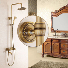 Shower Faucets Antique Bathroom Shower Faucet Set Retro Bathtub Faucet Mixer Tap Waterfall Rainfall Wall Shower Head set 9139(China)