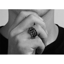 KUNIU Pop 1Piece Alloy Silver Color Men Women Skull Head Pattern Finger Rings Jewelry Accessory