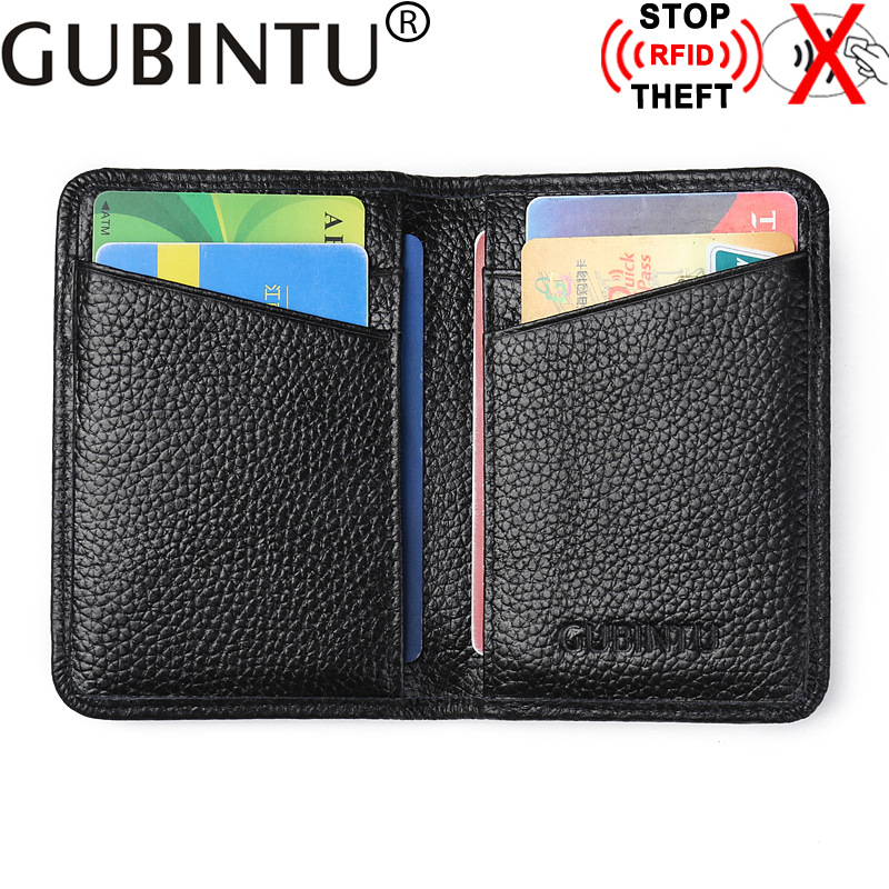 Genuine Leather Credi Card Wallet RFID Front Pocket Wallet Mens Women ID Card Pack Bank Card Holder Business Small Purse