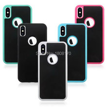 Anti Gravity Sticky Case For iPhone X 8 7 6 6S Plus SE 5 5S Selfie Hybrid TPU PC Fashion Stick On The Wall Back Skin Cover 50pcs