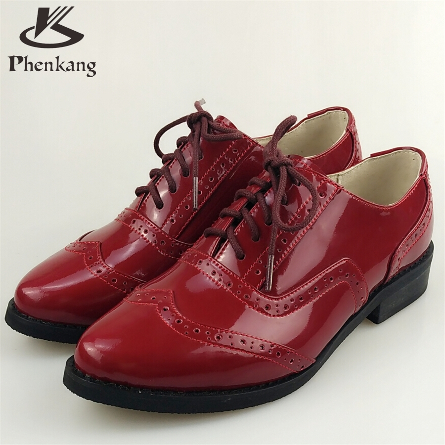 Patent leather woman US size 8.5 designer vintage flat shoes pointed toe handmade red 2017 sping oxford shoes for women with fur<br><br>Aliexpress