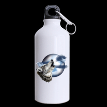 Roaring Wolf Moon Superior Custom Design Aluminum Sports Bottle Water Bottles White 400ml Travel (Two Sides Printed)(China)