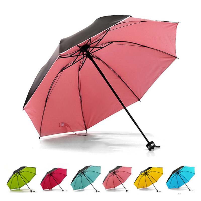 Black Coating Anti-UV sun umbrella women Black Color umbrella Sunny Rain Umbrella Trendy Pure Folding Umbrella 1 Pc A45(China)