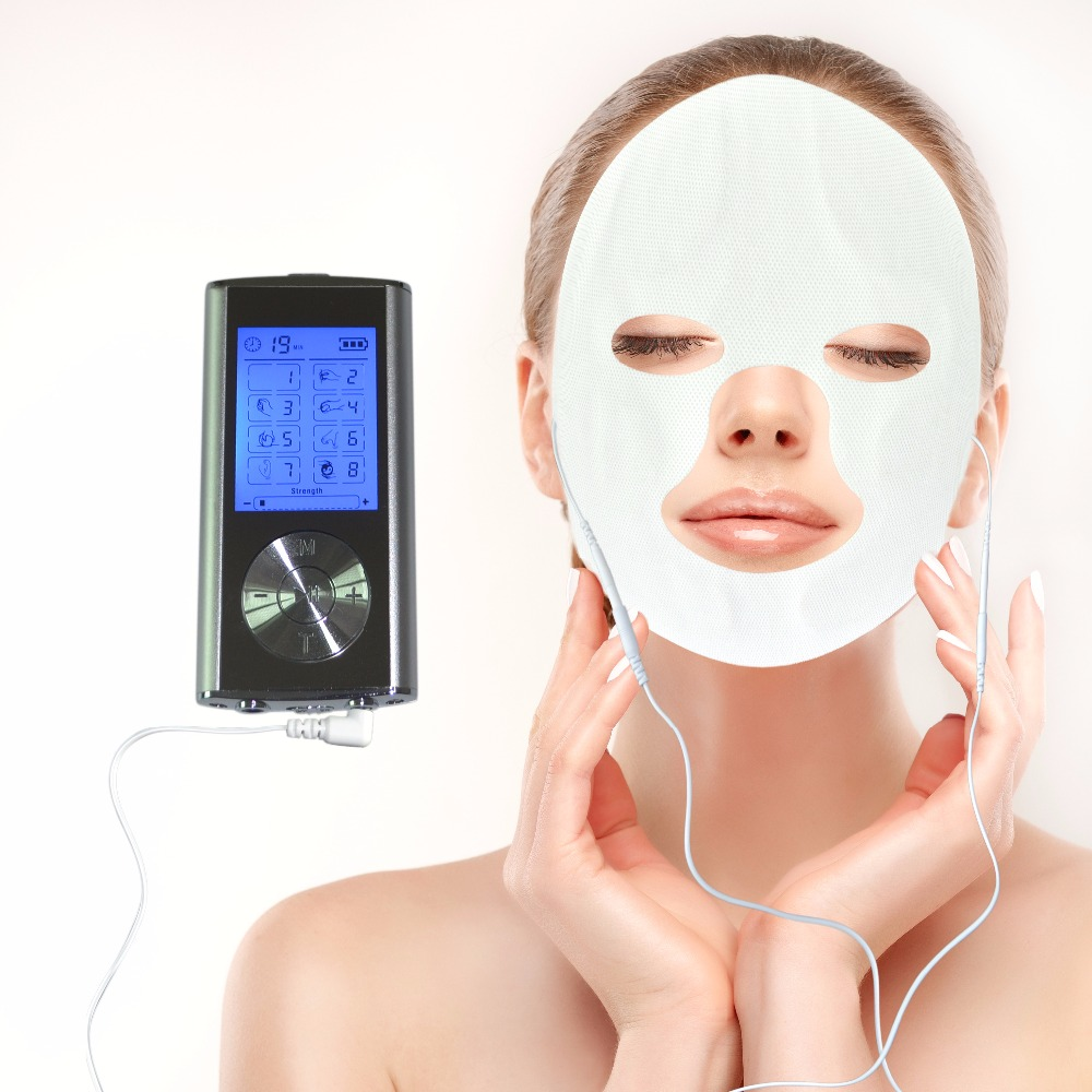 Electrical Muscle Stimulator Full Body Relax Digital Tens Therapy Massager Machine 8Modes With Conductive Fical Mask For Beauty <br>