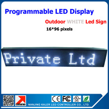 Factory direct sales Cheap Price P10 outdoor waterproof white color LED screen sign 16*96 pixel running text led sign outdoor