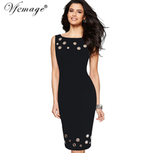 Vfemage Womens Elegant Hollow out Eyelet Vintage Summer Casual Party Work Slim Fitted Bodycon Pencil Sheath Dress Vestidos 6208(China)