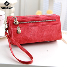 2017 New vintage design women wallet long high quality female clutch zipper wallets big capacity purse cellphone bag pocket