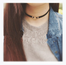 Minimalist new south Korean website with money Harajuku retro metal loops wool collar choker necklace ZY(China)