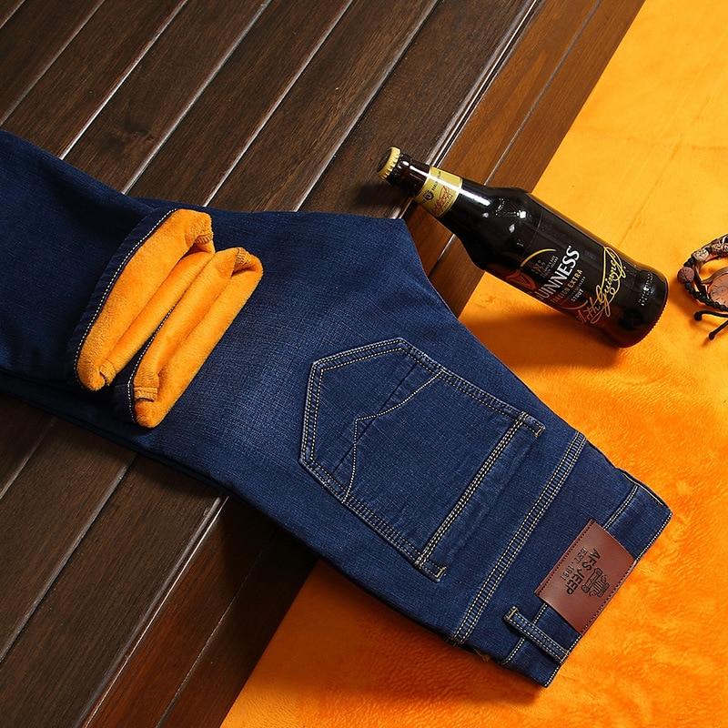 AFS JEEP Winter Fleece jeans men Mid waist warm jeans male jean fleece lined jeans straight pantalones vaqueros hombreОдежда и ак�е��уары<br><br><br>Aliexpress