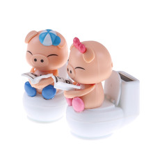 1pcs Blue Cute Solar Toys Solar Powered Bobble Head Pig Sitting On Toilet Home Car Ornament Kids Toy(China)
