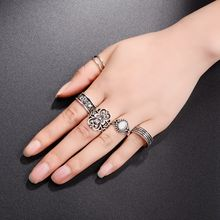 5pcs/Set 2017 New Design Silver Boho Women Stack Plain Above Knuckle Ring Midi Finger Tip Rings Vintage Band Ring(China)