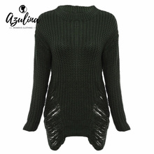 Sexy Frayed White Knitted Sweater Women Jumper Long Sleeve Warm Thick Winter Long Ripped Sweaters Pullover Oversized Pull Femme(China)
